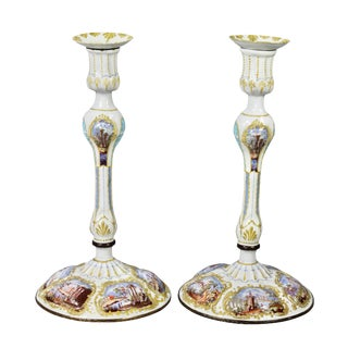 George III Battersea Enamel Candlesticks - a Pair For Sale