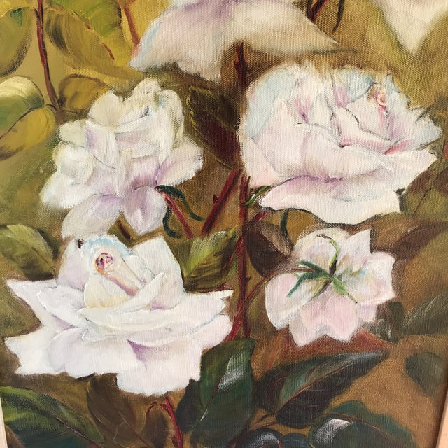 Vintage Blooming White Roses Framed Oil Painting For Sale - Image 4 of 10