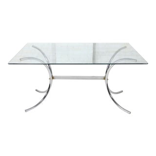 Vintage Hollywood Regency Glass Dining Table With Chrome Legs For Sale