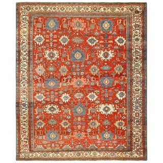 Antique Room Size Persian Bakshaish Red Background Rug - 12′ × 14′1″ For Sale