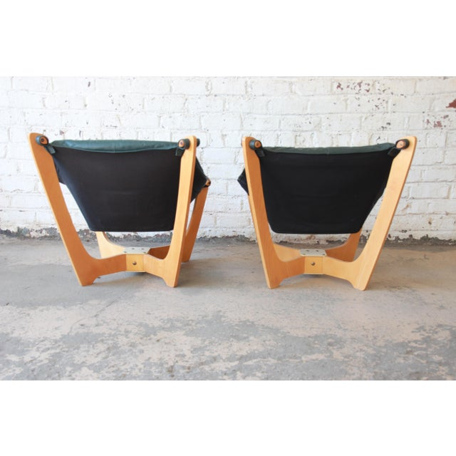 Green Odd Knutsen Teak Luna Chairs in Green Aniline Leather - a Pair For Sale - Image 8 of 12
