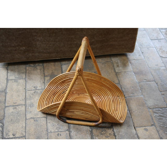 This vintage Gabriella Crespi Style magazine rack is made of pencil reed and bamboo and fits in perfectly with Boho and...