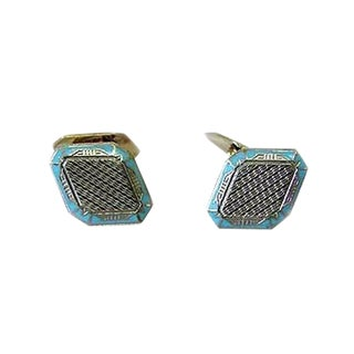 Art Deco 14k White & Yellow Gold Enameled Cufflinks - a Pair For Sale