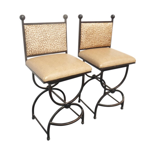 Wrought Iron Swivel Bar Stools - A Pair - Image 1 of 9