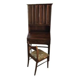 J.B. Van Sciver Mid-Century Drop Lid Bookcase Desk W/ Chair