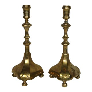 17th Century British Colonial Brass Candle Holders - a Pair