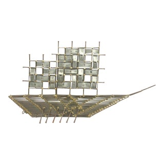 Final Markdown - Modernist Brutalist Large Metal Ship Table or Wall Sculpture For Sale