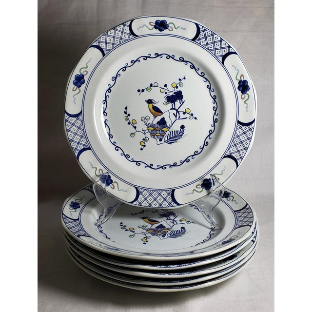 Set of 6 dinner plates in from Wedgwood's Georgetown Collection in the Volendam pattern. Made in England. These plates,...