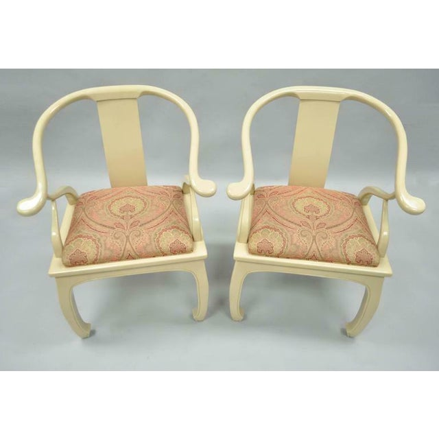 Metal Vintage Cream Lacquered James Mont Style Ming Horseshoe Lounge Chairs - A Pair For Sale - Image 7 of 10