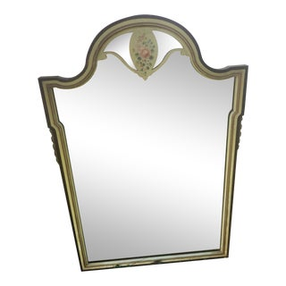Antique French Cottage Hand Painted Arched Top Mirror For Sale