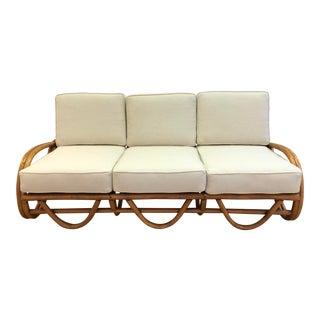 Vintage Boho Style Bentwood Rattan Sofa