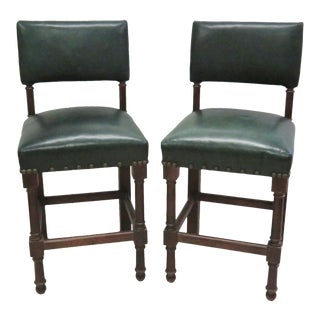 Green Leather Bar Stools - A Pair