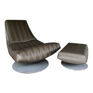 Gijs Papovoine Montis Olivier Danish Modern Swivel Lounge Chair & Swivel Ottoman on Tulip Bases For Sale
