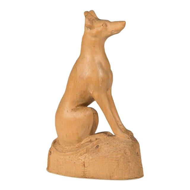 19th Century English Hand Made Carved Wood Dog Sculpture For Sale