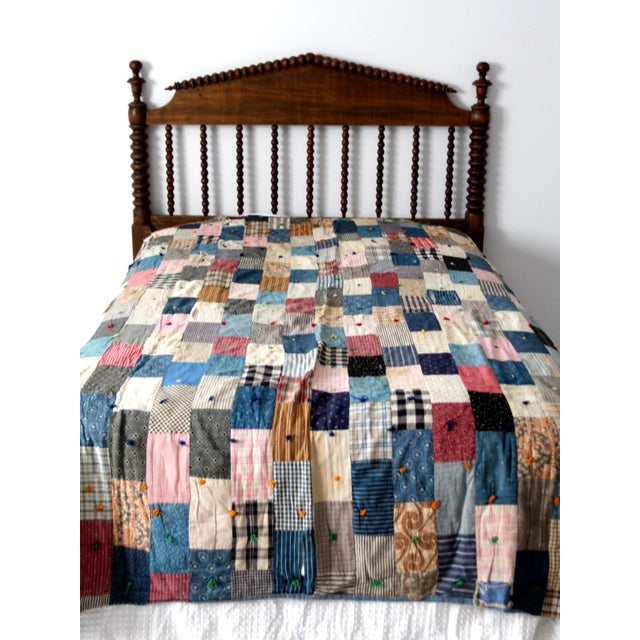 Blue Vintage Hand-Tied Patchwork Quilt For Sale - Image 8 of 10