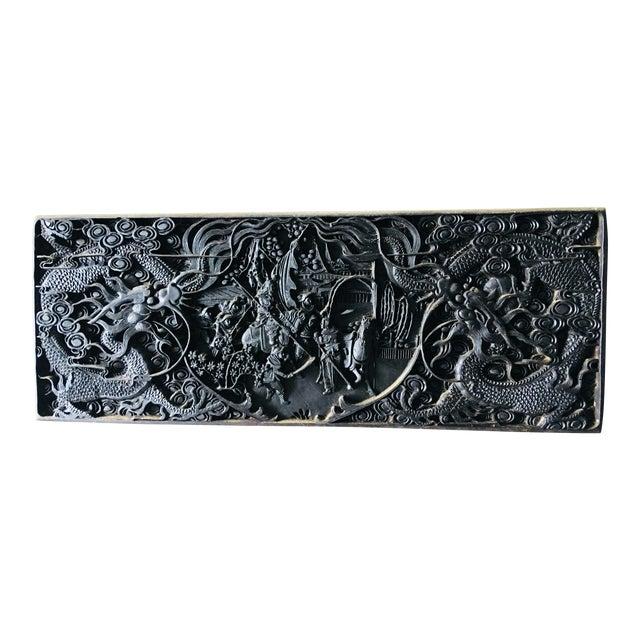 Large Antique Hand Carved Black Lacquer Plaque For Sale