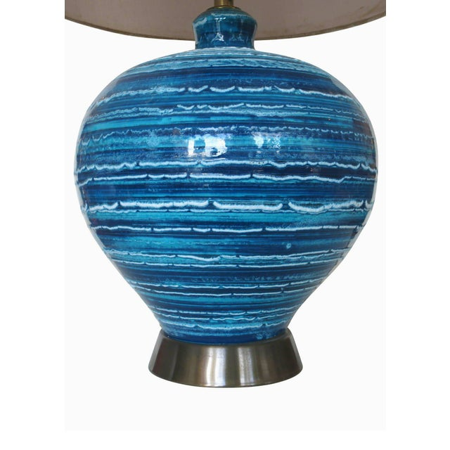 Mid-Century Variegated Blue Striped Glazed Ceramic Lamp - Image 3 of 6