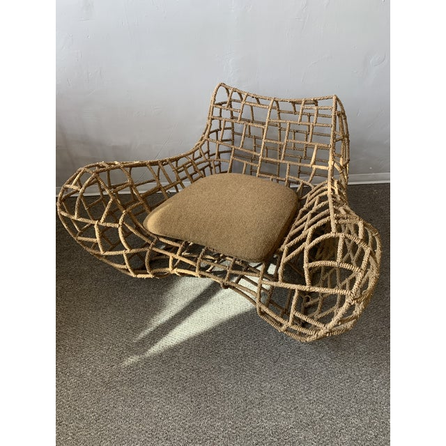 1970s Vintage Marine Rope Club Chairs and Ottomans - 4 Pieces For Sale - Image 4 of 12