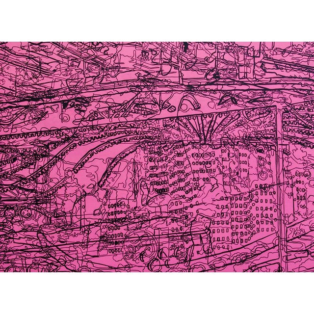"""Luminous Whirl is a large acrylic painting on cradled panel measuring 36"""" x 50"""". It displays a mix of line drawings..."""