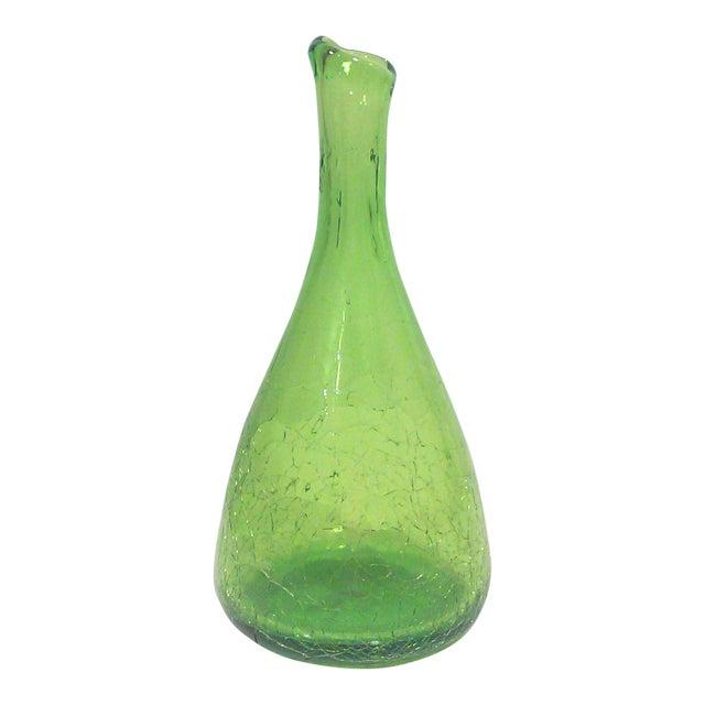 Blenko Green Asymmetrical Crackle Glass Vase Chairish