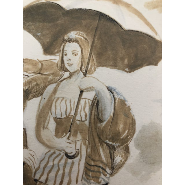 Two Ladies Posing the Beach, Watercolor by William Palmer, 1940 For Sale - Image 6 of 8