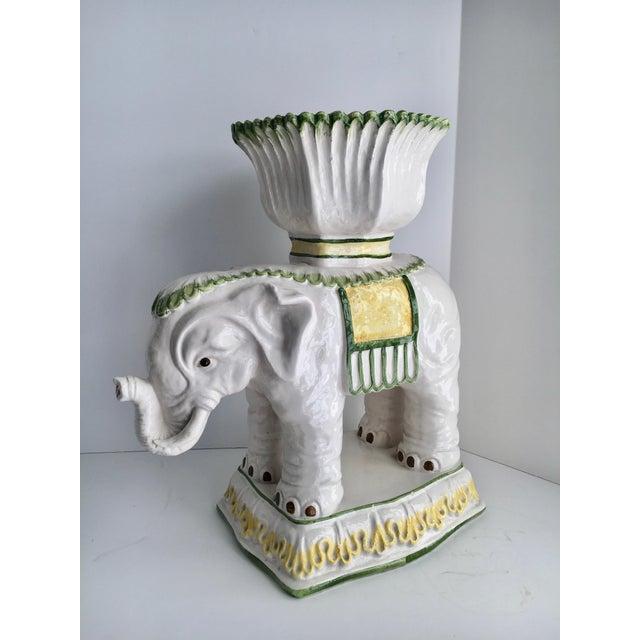 Mid 20th Century Italian Ceramic Elephant Cachepot Planter For Sale - Image 5 of 7