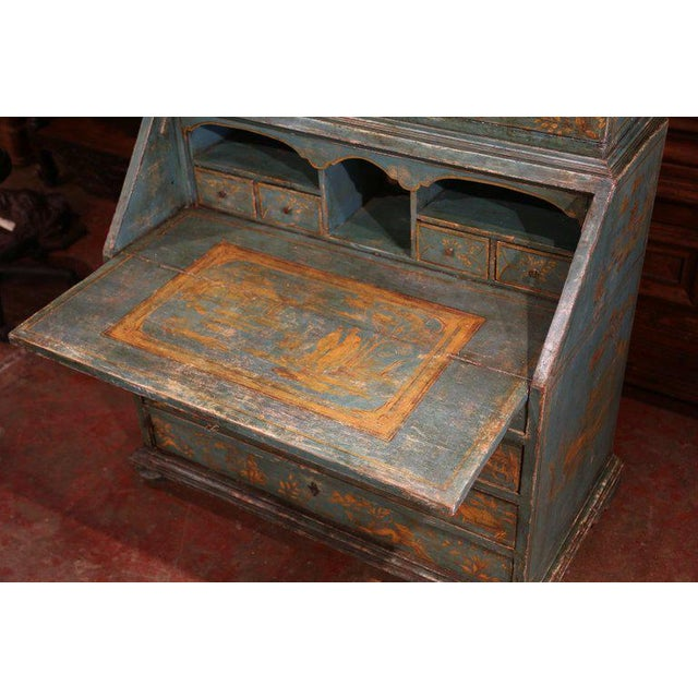 18th Century Italian Hand Painted Secretary Bookcase With Chinoiserie Decor For Sale - Image 4 of 12