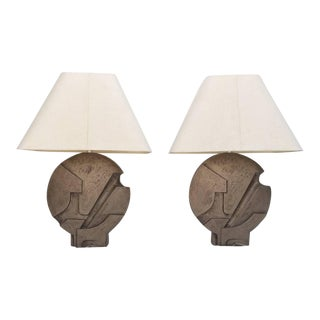 Sculptural Table Lamps - a Pair For Sale