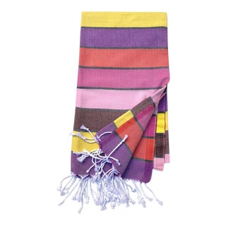 Turkish Tamam Sunset Stripe Handwoven Cotton Towel For Sale