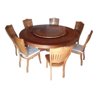 Round Dining Table With Lazy Susan and 7 Chairs Set For Sale