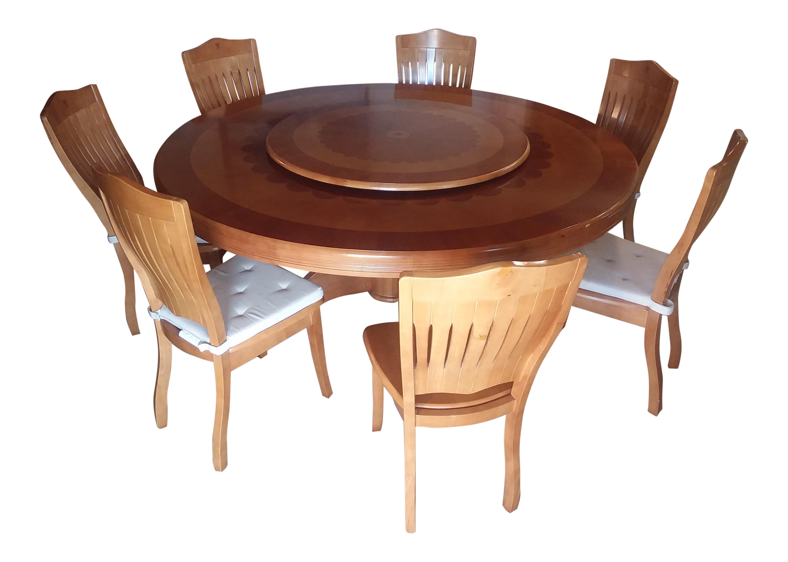 Superieur Round Dining Table With Lazy Susan And 7 Chairs Set For Sale