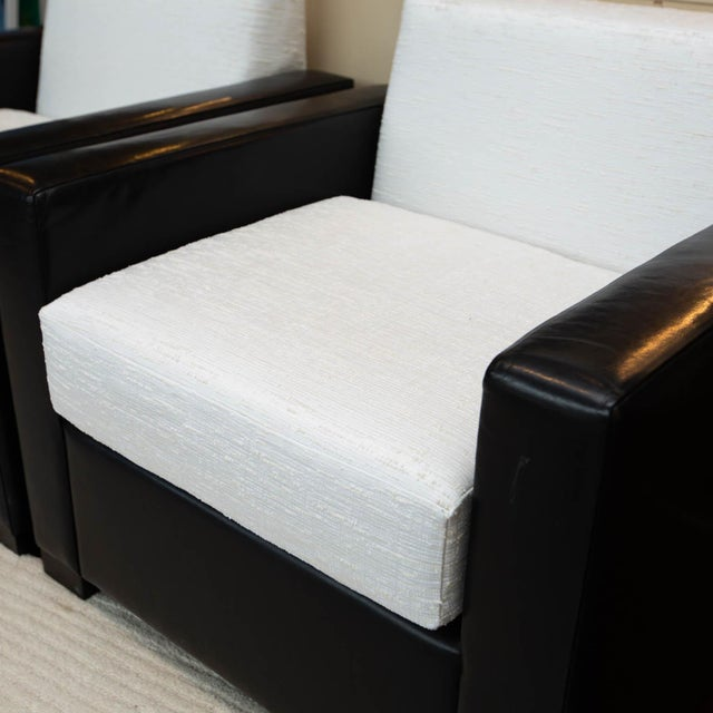 Modern Custom Pair of Leather and Raw Silk Tuxedo Club Chairs For Sale - Image 3 of 7