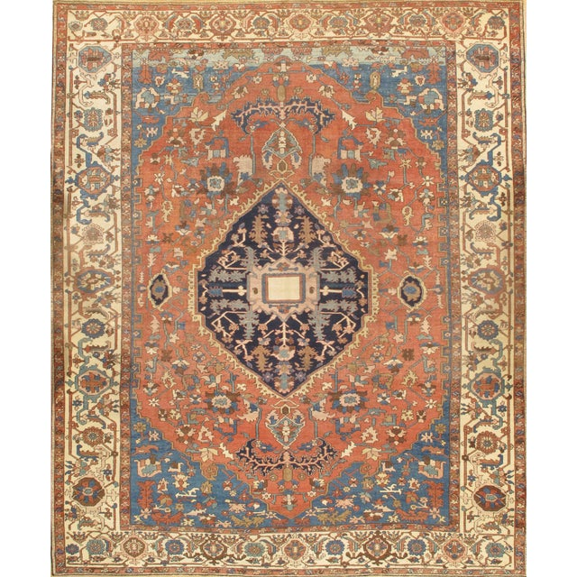"Antique Persian Serapi Handmade Wool Rug - 9'10"" X 11'11"" For Sale"