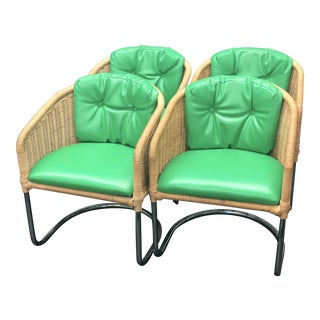 1960s Vintage Wicker/Cane & Chrome Vinyl Cantilever Barrel Club Chairs - Set of 4 For Sale