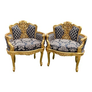 Antique French Louis XVI Style Corbeille Chairs - a Pair For Sale