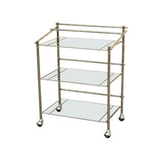 Milo Baughman Style Mid Century Modern Chrome & Smoked Glass 3 Tier Bar Cart For Sale