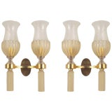 Image of 1940s Italian Venetian Murano Gold Dusted Glass Wall Sconces - a Pair For Sale