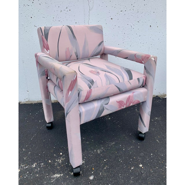 Set of 4 fully upholstered Parsons chairs with casters. Chairs are the perfect size for dining or office. Seat cushion is...