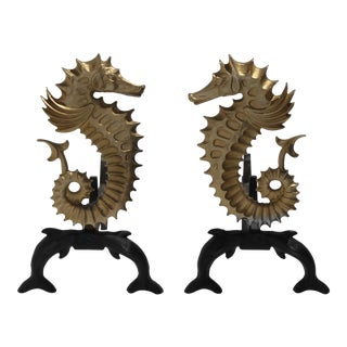 Seahorse and Dolphins Andirons 1930s in Bronze and Cast Iron - a Set of 2 For Sale