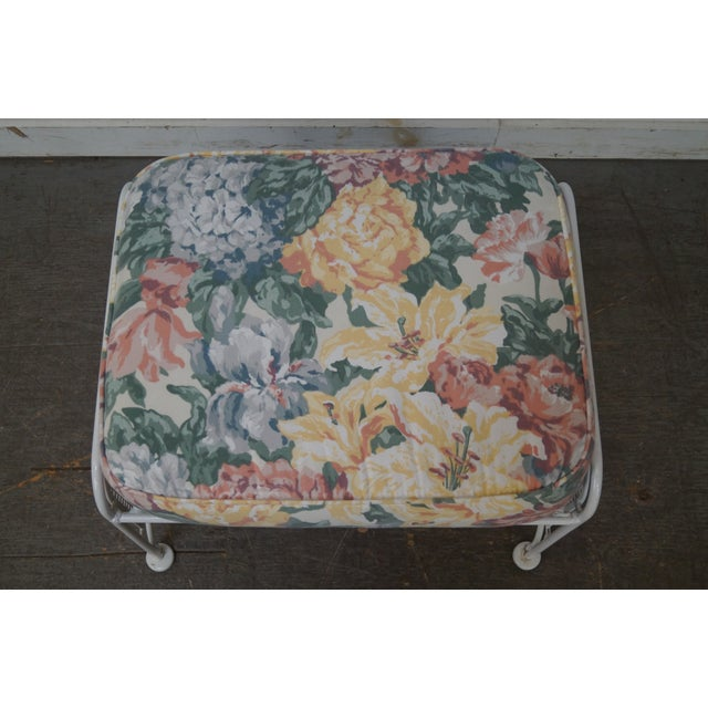 Vintage Woodard White Painted Patio Glider Lounge Chair & Ottoman For Sale - Image 9 of 10