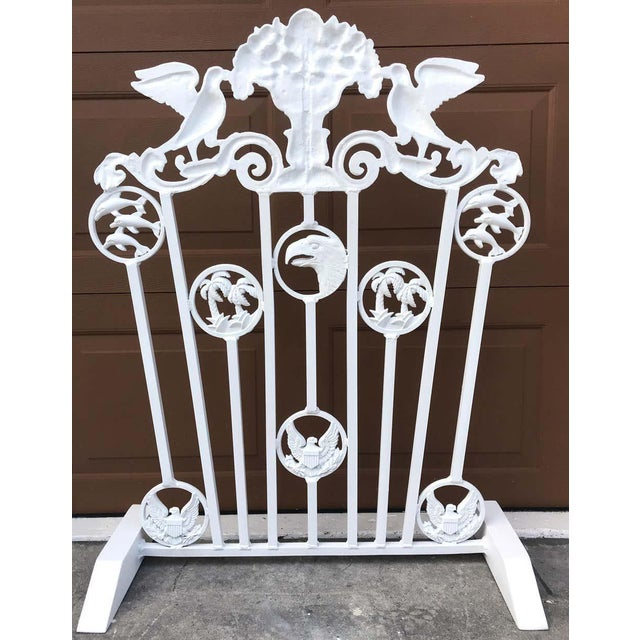 Hollywood Regency Presidential Wrought Iron Firescreen, Truman Little White House, Key West, Fl For Sale - Image 3 of 12