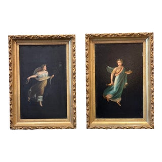 Pair of 19th Century Italian Neoclassical Oil on Board After Camillie Paderni Pa For Sale