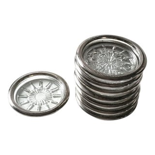 1950s Mid-Century Hollywood Regency Ship's Wheel Glass & Chrome Coaster Set - Set of 8 For Sale