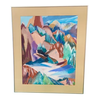 1960s Vintage Pastel Mountain Scene Original Drawing For Sale