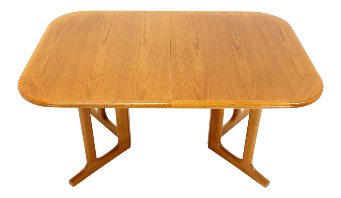 Danish Modern Rectangle Shape Teak Dining Table With Two Leaves For Sale