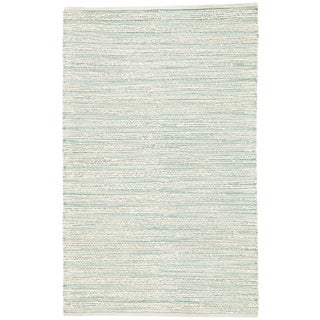 Jaipur Living Canterbury Natural Striped White / Turquoise Area Rug - 5′ × 8′ For Sale