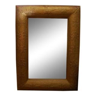 Hammered Copper With Subtle Carved Floral Motif Mirror For Sale
