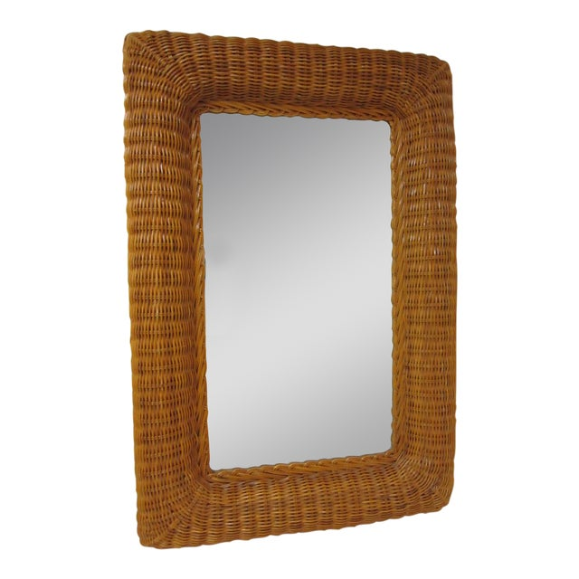 Vintage Lacquer Wicker Rattan Wall Mirror - Image 1 of 11