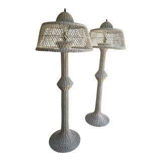 Early 20th Century Bar Harbor Wicker Rattan Floor Lamps - a Pair For Sale