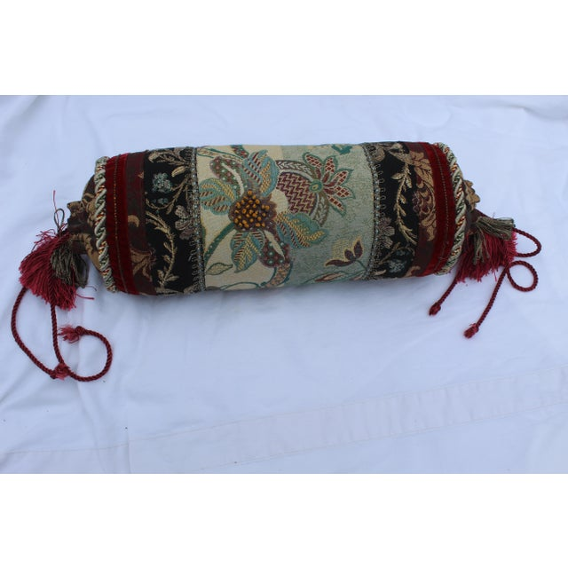 Contemporary Multicolored Floral Tapestry Bolster With Tassles and Cords For Sale - Image 4 of 13